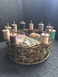 Rare Antique Barbola Sewing Basket With Spools Of Thread