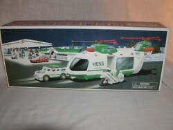 Hess 2001 Toy Truck Helicopter With Motorcycle And Cruiser Mib New