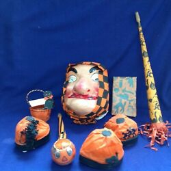 Antique German Halloween Witch Mask Jol Horns Party Favor Hats Fortune Telling