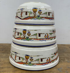 Very Rare Hotoven Harker 1930s Pottery Mixing Bowls Monterey Pattern 1761