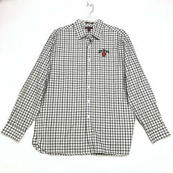 Red House Jim Beam Embroidered Shirt Mens Xl White Black Check Ls Button Front