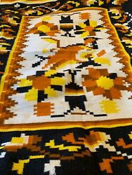 """Vintage Authentic Native American Or Mexican Handmade Blanket Rug Mint 86""""x 52"""""""