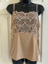 Wacoal Camisole Cami Tank Top Lace Impressions Sheer Floral Nylon Nude 811257 Xl