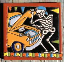 Day Of The Dead Hi Relief 6 Tile Talavera Mexican Pottery Man Auto Car Mechanic