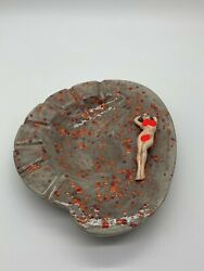 Handmade Painted Ashtray Vintage Porcelain Pinup Promiscuous Risque 1970s