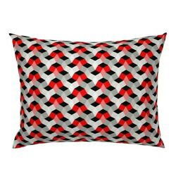 Geometric Red White Abstract Modern Original Pillow Sham By Roostery