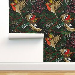 Removable Water-activated Wallpaper Black Stars Berries Birds Woodland Winter