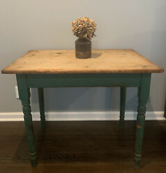Antique Farmhouse Two Board Wood Top Table