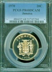 1970 Jamaica 20 Cent Pcgs Pr68dcam Proof Coin Only One Finest Graded