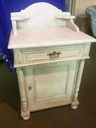 Painted Real Marble Top Gustavian Antique Farmhouse Washstand Chest