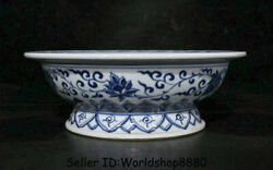 8.8 Marked Old Blue White Porcelain Dynasty Year Fish Lotus Compote Plate Tray