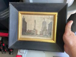 Vintage Illinois Moulding Co. P660-c Old Water Tower Chicago Painting Framed