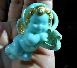 Sale 1930s Celluloid Baby Blue Cherub Rattle W/gold Wings, Harp And A Bare Bottom