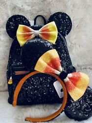 Minnie Mouse Halloween Candy Corn Loungefly Sequin Mini Backpack Nwt