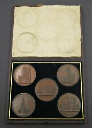 C.1850 Cased Set Of 5 X British Cathedral Medals - By Davis