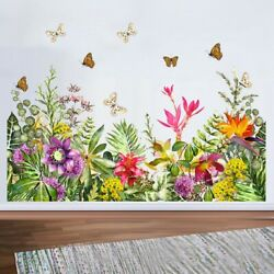 Removable Flowers Green Leaf Butterfly Flower Vine Wall Sticker Home Decor