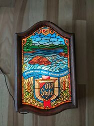 Rare Heilemans Old Style Beer Waterfall Sign Faux Stained Glass Vintage