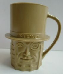Vintage Mr. Peanut Collectible Tan Plastic Cup Mug Made In Usa