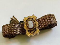 Antique Victorian Gold Filled Mesh Bracelet With Carved Cameo And Etruscan Slide