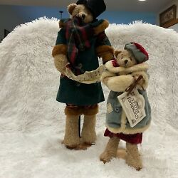 """2 Enesco Teddy Tompkins Collectible Bears Christmas Carolers 24 And 17"""" Safety Pin"""