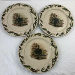 Lot Of 3 Big Sky Carvers Lodge Stoneware Collection Woodland Moose Dinner Plates