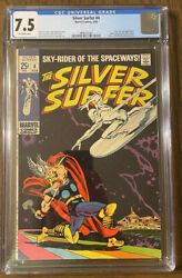 Silver Surfer 4 Cgc 7.5 White Pages Classic Cover Thor Marvel Stan Lee 1969