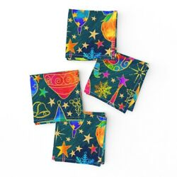 Cocktail Napkins Stars Snowflakes Berries Gold Holiday Christmas Ivy Set Of 4