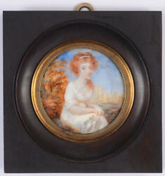 Andrandeacute-melchior Judlin Red-haired Lady In Landscape High Quality Miniature