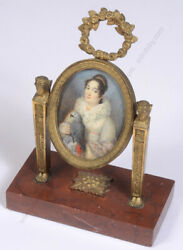 French Support With Miniature Portrait Of A Young Lady With Parrot 1815/20