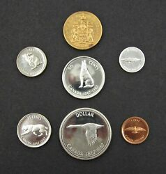 Canada 1967 7 Coin Proof Set - Gold 20 Twenty Dollars To Cent