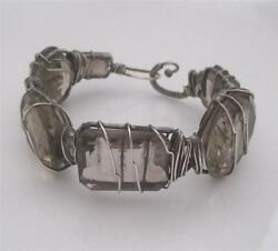 Julie Fenton Young Sterling Silver Wire Wrapped Handmade Smoky Topaz Bracelet