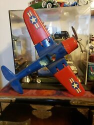 Vintage Hubley Fighter Bomber 1950s Diecast Toy Airplane 495 Red And Blue.