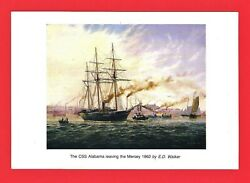 Wirral Tourism Postcard The Css Alabama Leaving The Mersey 1862 - By Ed Walker