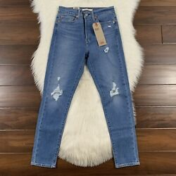 Leviandrsquos Womenand039s Size 27 Sun Devil Trashed Wedgie Skinny Denim Jeans High Rise