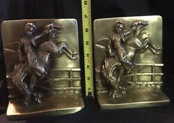 1986 Dallas Brass Rearing Horse And Cowboy Bookends Over 13 Lbs Exc Detail