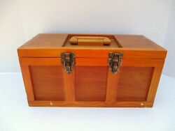 Vintage Wood Fishing Tackle Box With Removable Tray Unknown Maker
