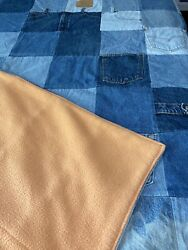 Queen Size Handmade Denim Quilt Made From Recycled Blue Jeans 68 X 94