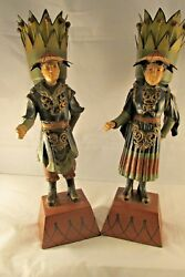 Asian Oriental Farmer Cast Iron And Metal Figurine Statues, Set Of Two