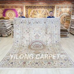 Beige Hand Knotted Silk Carpets 8x10ft Antique Handmade Area Rugs 028c