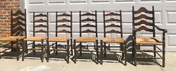 Vintage Ethan Allen Antiqued Pine Dining Chairs 6 Ladder Back Rush Chairs