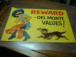 Original 1957 Cowboy Advertising Sign / Poster For Del Monte Double Sided 3 Gun