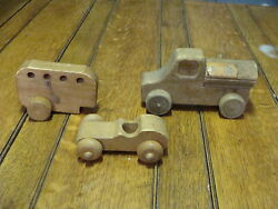 3 Vintage Wooden Toy Pars, Car, Truck And Back Piece. One Marked Snoopy