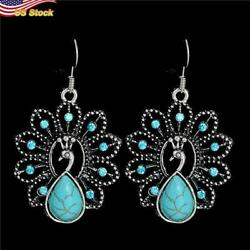 Vintage 925 Silver Plated Peacock Shape Drop Earrings For Women 1pair/set Gift