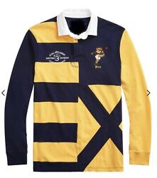 Nwt Polo Big And Tall Yellow Kicker Bear Patchwork Rugby Shirt 2xlt