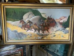 """1977 Vintage Western Oil Painting """"stagecoach Cowboy Bandits"""" By Humphrey"""