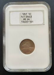 1857 Flying Eagle 1 Cent Old Ngc Fatty Case Ms-64 High Grade Better Date Coin