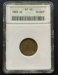 1859 Indian Head 1 Cent Coin, Old Anacs Small Case Ef-40, Very Nice Coin