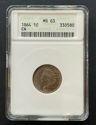 1864 Indian Head 1 Cent Copper Nickel Coin, Old Anacs Small Case Ms-63