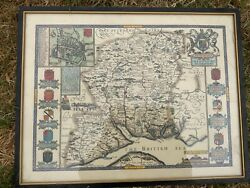 Antique John Speed British England Hampshire Map Hand-colored Litho Engraving