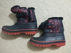 Dream Pairs Little Kid Ducko 3 Black And Red Webs Ankle Winter Snow Boots Size 4